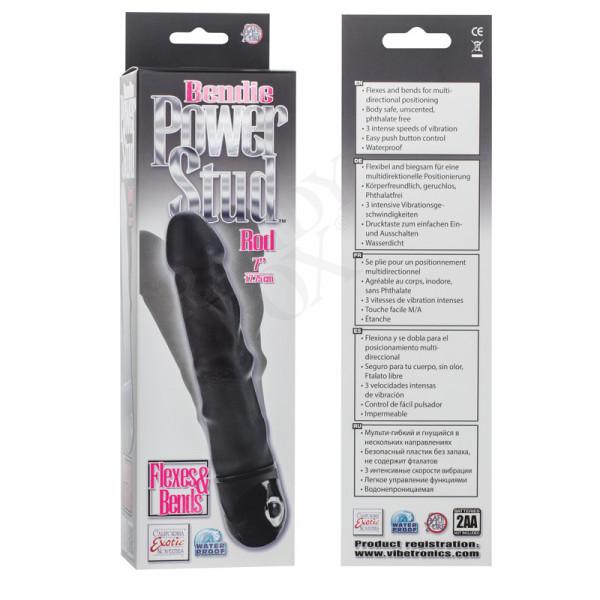 Bendie Power Stud Rod Realistic Vibrator - Black