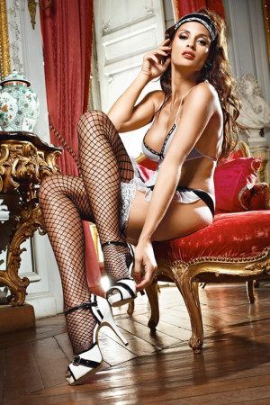 White Lace Top Black Fishnet Thigh High with Bow - OS