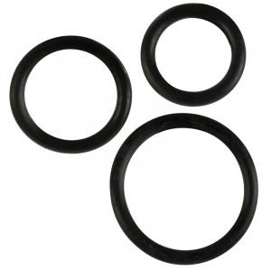 Black Rubber Cock Ring 3 pc Set