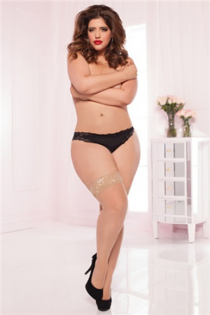 Plus Size Sheer Lace Thigh High - White - Front