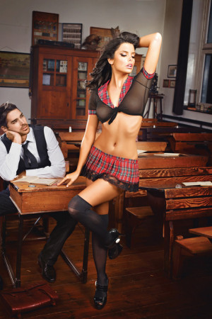 Schoolgirl Bra and Skirt Set OS 1276