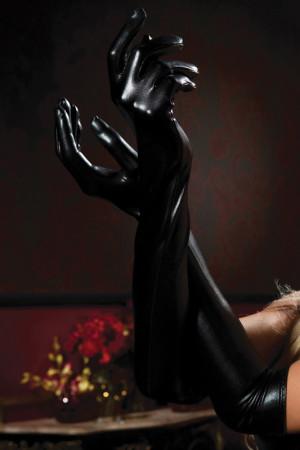 Lame Opera Length Gloves - Black