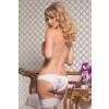 Satin Crotchless Panty - White