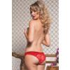Satin Crotchless Panty - Red