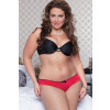 Plus Size Satin Crotchless Panty - Red