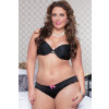 Plus Size Satin Crotchless Panty - Black