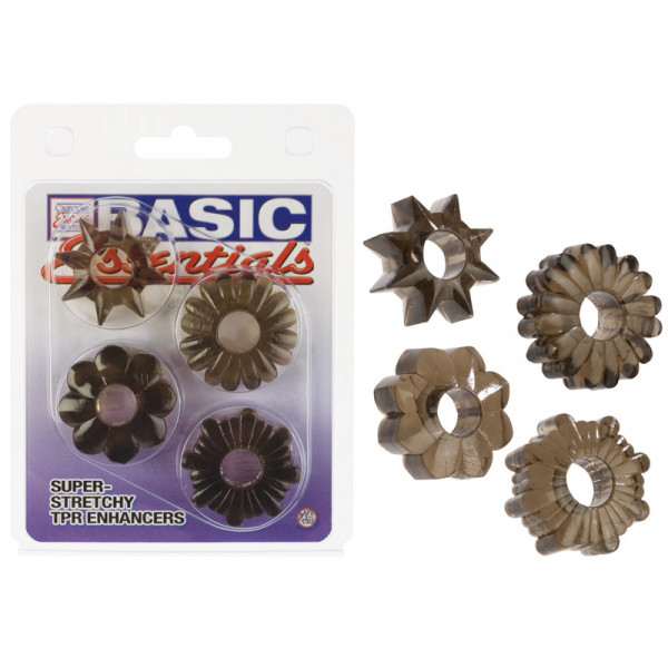 Basic Essentials Set of 4 Rings - Smoke