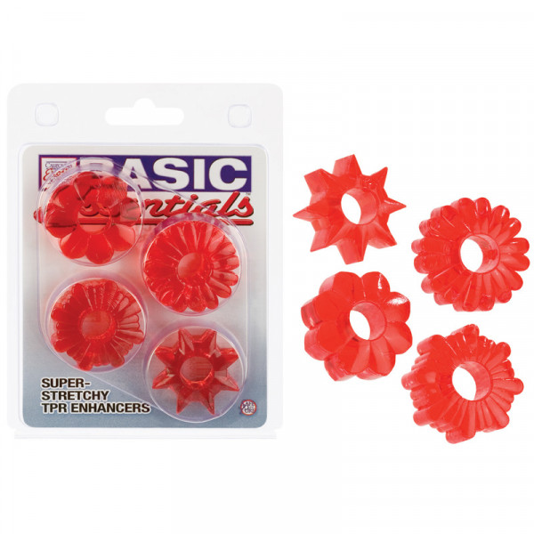 Basic Essentials Set of 4 Rings - Red