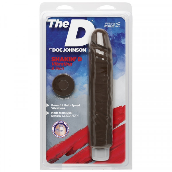 Doc Johnson The Shakin D 9-Inch Realistic Vibrator - Chocolate
