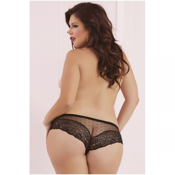 Seven Til Midnight Plus Size Galloon Lace & Dot Mesh Panty - Black