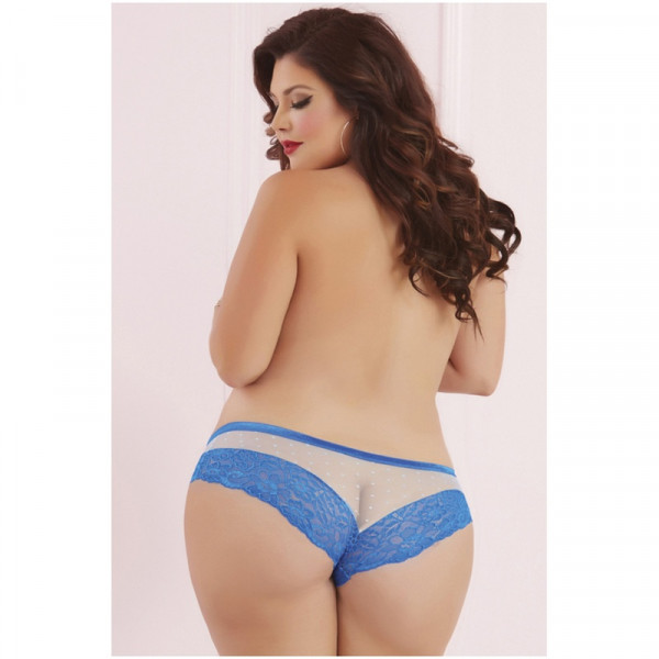 Seven Til Midnight Plus Size Galloon Lace & Dot Mesh Panty - Blue