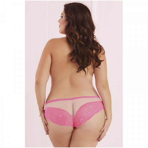 Seven Til Midnight Plus Size Galloon Lace & Dot Mesh Panty - Pink