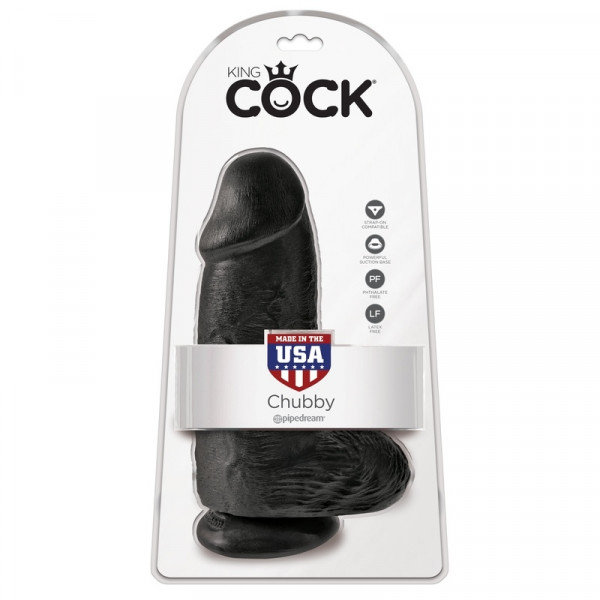 Pipedream King Cock - Chubby 9 Inch Super Thick Realistic Dildo - Black