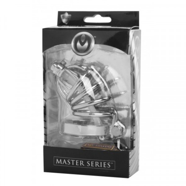 Master Series Stainless Steel Chastity Cage With Silicone Urethral Plug