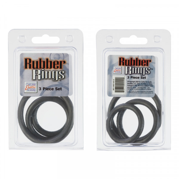 Black Rubber Cock Ring 3 pc Set-2
