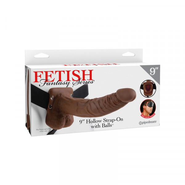 Fetish Fantasy - 9 Inch Hollow Strap-On With Balls - Brown