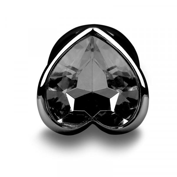 Randy Fox Heart Jewel Metal Butt Plug - Gun Metal