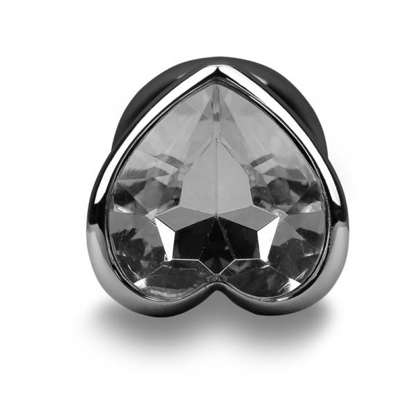 Randy Fox Heart Jewel Metal Butt Plug - Silver