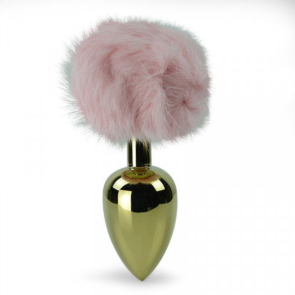 Pink Bunny Tail Anal Plug - Large - Gold