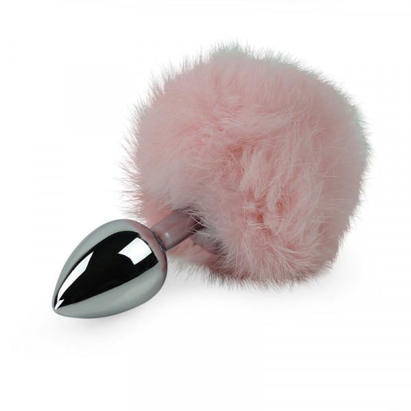Randy Fox - Pink Bunny Tail Anal Plug - Small - Silver