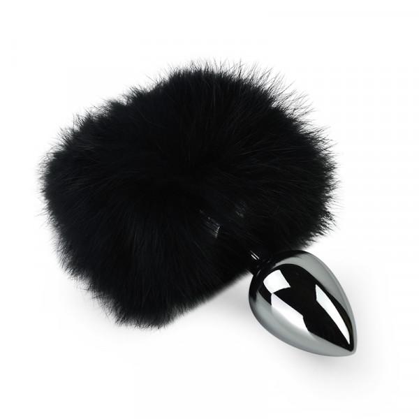 Black Bunny Tail Anal Plug - Small - Silver